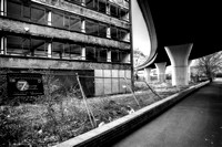 Derelict office building under motorway, Leeds