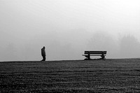 Man and bench in fog